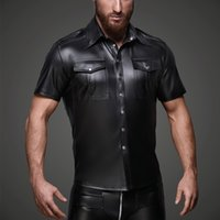 8d041c4a6a1031 latex shirts Canada - Men Faux Leather Shirts Pu Leather T Shirts Men Sexy  Fitness Tops