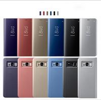 iphone5 fallstandplatz großhandel-Für iphone11 6 / 6p iphone5 7plus 8plus iphonex xs xr xsmax flip ständer mirro clear view flip abdeckung für iphone-in flip von case