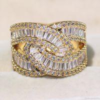 elmas sonsuzluğu toptan satış-Toptan Profesyonel Lüks Takı 925 Ayar GümüşAltın Dolgulu Prenses Kesim Beyaz Topaz CZ Elmas Infinity Kadınlar Düğün Band Yüzük CZ