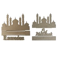 Wholesale mdf decorations resale online - Wooden MDF Eid Mubarak Ramadan Home Party Ornament Decoration Muslim Islamic Craft DIY Gift Box Decorative