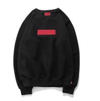 großes sweatshirt großhandel-Europa United State Flut Marke Suprême Sweatshirt Männer Designer große Stickerei Pullover Jacke Mode Box Logo Rundhals Pullover rote Markierung