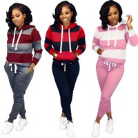Wholesale american football hockey jerseys resale online - S XL Women Winter Women s set Tracksuit Full Sleeve Hoodied Sweatshirt Pockets Pants Suit Two Piece Set Outfits sweatsuit VNK8848