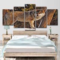 kahverengi tuval resmi toptan satış-HD Baskılı 5 Parça Tuval Sanat Kahverengi Vahşi Kurt Boyama Duvar Resimleri Salon Dekorasyon Ücretsiz Nakliye için