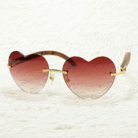 lunettes roses en forme de coeur achat en gros de-Lunettes de soleil roses en forme de coeur pour hommes et femmes Lunettes de corne de buffle Cadre Carter pour la conduite et la fête Véritable Matériel Temples