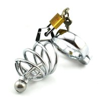 Wholesale Male chastity lock with catheterization Passionate metal bondage Couples bondage alternative toy tools sex sex orgasm supplies