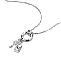 модные аксессуары брелок ожерелье оптовых-Wholesale100%S925 стерлингового серебра ключевой замок кулон ожерелье женщина 63 см коробка серебряная цепь аксессуары мода серебро ювелирные изделия подарок