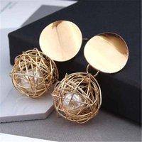 accesorios de madera vintage al por mayor-Moda simple bola tejida de madera bohemia mujeres vintage cuelga la perla larga borla Stud Earr ...