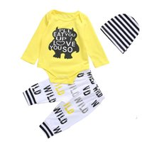 Wholesale baby bear romper piece for sale - Group buy Baby Boy Clothes Newborn Long Sleeve Bear Letter Printed Yellow Romper Pants Hat Set Children Clothing Sets