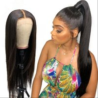 ingrosso le migliori parrucche europee dei capelli umani-10A La migliore qualità parrucche piene del merletto Europeo capelli umani vergini serici Gluelss parrucche anteriori in pizzo per donna nera Shippiing gratuito