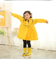 Wholesale raincoat girls for sale - Group buy 80 cm kids princess style polyester cartoon raincoat children girls school hoodies rainwear kid students poncho with hat