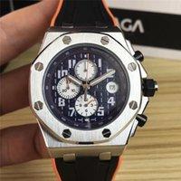 stoppuhr bewegung großhandel-42mm Luxus Herren Designer Uhren Mode Sport Gummiband Quarz Stoppuhr Bewegung Armbanduhren Orologio di Lusso