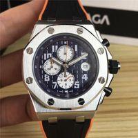 digitale stoppuhr analog groihandel-42mm LuxuxMens Designer-Uhren Art und Weise sports Gummiband Quarz Stoppuhr Bewegung Armbanduhr orologio di Lusso