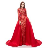 ingrosso zuhair murad indossa i vestiti-Zuhair Murad 2019 Red Mermaid Prom Dresses Treno staccabile Custom Made Celebrity Evening Gowns Illusion maniche lunghe Lace Sequin Party Gown