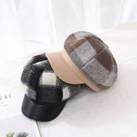 Wholesale military peak hat resale online - Autumn and winter hat ladies beret plaid fleece octagonal hat winter warm cap peak cap
