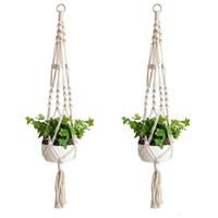 Plant Hangers Macrame Rope Pots Holder Rope Wall Hanging Planter Hanging Basket Plant Holders Indoor Flowerpot Basket Lifting