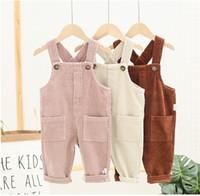 kore bebek erkek giyim toptan satış-Bebek Çocuk Kadife Suspender Pantolon 2019 Çocuk Butik Giyim Kore 1-4T Küçük Erkekler Kızlar Katı Renk tulumlar Güz