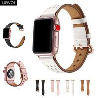 altın iwatch toptan satış-Toptan Deri İzle apple İzle serisi için 4 3 2 1 slim fit kayış iwatch klasik gül altın adaptörü / toka 40 44mm