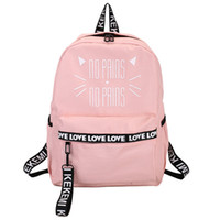 Wholesale korean style notebooks resale online - Moon Wood Lovely Cat Letter Printing Backpack Pink School Bags For Teenager Girls Students Book Bag Notebook Backpack Rucksack J190610