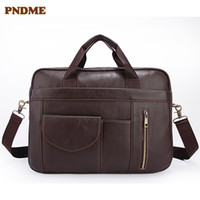 Wholesale briefcases cowhide resale online - PNDME business genuine leather Men s briefcase vintage designer soft first layer cowhide laptop bag messenger bags handbags