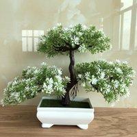 Wholesale pine tree flower resale online - Ganoderma Tree Lotus Pine Tree Simulation Flower Artificial Plant Bonsai Fake Green Pot Plants Ornaments Home Decor Craft