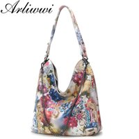 Wholesale shiny leather handbags resale online - Arliwwi Designer Women s Genuine Leather shiny Floral Handbags Elegant Real Leather Flower Chain Bags For Lady