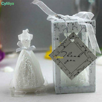 Wholesale wedding guests gifts candles for sale - Group buy wedding bride dress candle favor wedding gifts for guest wedding souvenirs