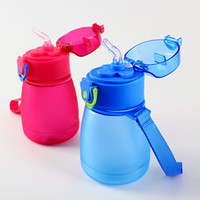 Wholesale plastic water bottles for children resale online - 320ml Plastic Water Bottle with Straw BPA Free Drink Bottle With Rope Creative Cartoon Sport Drinking Bottles Gifts for Kids