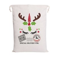 Wholesale canvas sacks resale online - Newest Christmas Santa Bags Santa Sack Drawstring Bag Styles Canvas Candy Bags for kids gifts