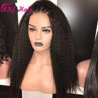 Wholesale 32 hair resale online - Natural Color Full Lace Kinky Straight Lace Front Hair Yaki Wigs For Black Women s Hair Wigs High Density Good Quality