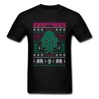 suéter de algodón negro al por mayor-Christmas Awakens T Shirt Cthulhu Tshirt Men Black Tops Summer Cotton Wholesale Discount Xmas Gift T Shirt Sweater Pattern Tee