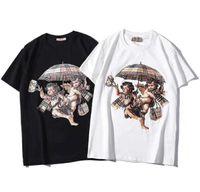 hommes parapluie achat en gros de-2019 Femmes Nouveaux vêtements Plaid Parapluie Cupidon Imprimer Manches courtes Coton Lâche Hommes et Femmes Couple T-shirt
