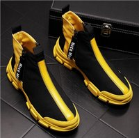 chaussures tendance achat en gros de-Men Fashion Casual High Top Shoes Spring Autumn Breathable Youth Trend Leisure Ankle Boots Male Sneakers da029