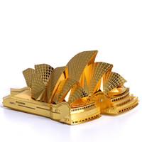 3d ev binası toptan satış-Yapı Taşı Tuğla Oyuncaklar 3D Metal Bulmaca Sydney Opera Binası Bina Modeli Kitleri DIY 3D Lazer Kesim Araya Bina Yapboz Oyuncaklar