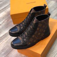 botas elegantes al por mayor-2019 Botas deportivas de lujo con estampado a cuadros de lujo Clásico Casual hombres Zapatillas con cordones Elegantes zapatillas altas suela de goma de alta calidad