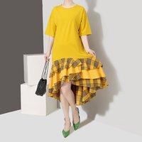 koreanische mädchen gelbes kleid großhandel-2019 koreanischen stil frauen sommer gelb sonne dress kurzarm rüschen saum mädchen lose midi sommerkleid casual dress robe femme f602