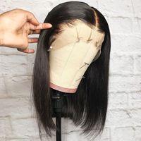 peruk bob rengi toptan satış-Doğal Yumuşak Kısa Düz Bob Siyah Renk # 1b Sentetik Dantel Ön Peruk Yan Ayrılık Tutkalsız Isıya Dayanıklı Fiber Saç Siyah Kadınlar Için