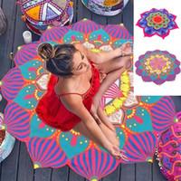 runde strandtücher großhandel-Rundes Strandtuch 150 CM Mandala Sommer Strandtuch Indische Lotu Druck Yoga Matte Runde Quaste Tapisserie Totem Decke Boden Pad GGA2198