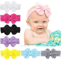 Wholesale lace polka dot baby hair resale online - New Baby Rabbit headbands kids Polka Dots Candy Colors Hair accessories fashion lovely bow kids baby hairband