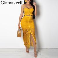 sarı düğmeli elbise toptan satış-Glamaker oymak seksi sarı uzun elbise Kadınlar dantel fırfır düğme sundress Bodycon yaz parti elbise gece vestidos de dresses