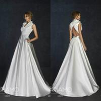 Wholesale boho wedding dress for sale - Group buy 2020 Bohemian Wedding Dresses V Neck Sweep Train Sleeveless Satin Boho Bridal Gowns A Line Custom Made Cheap Wedding Dress