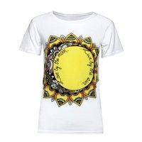 boyun tasarımı kız gömlek toptan satış-Yeni Yaz Ayçiçeği Baskılı T-Shirt Moda Tasarım Kısa Kollu O-Boyun Rahat Gevşek T-Shirt Kadın Kızlar Için
