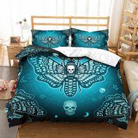 conjuntos de cama de borboleta adulto venda por atacado-3d Conjunto Capa de Edredão Crânio Do Açúcar Cool Borboleta Conjuntos de Cama Queen Size Rei Bed Set Drop Shipping