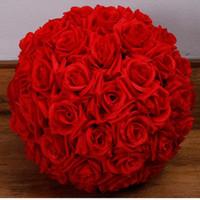 bola de rosa artificial do casamento venda por atacado-bolas Rose artificiais Kissing Balls flor de seda suspensão do Natal Ornamento do casamento do evento Centerpieces decorações do partido rosa bolas de H004