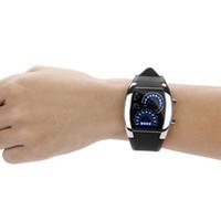 medidor hombre al por mayor-Diseño especial de moda para hombres Reloj digital Luz LED Flash Turbo velocímetro Sports Car Dial Meter Reloj para hombre Relojes de pulsera