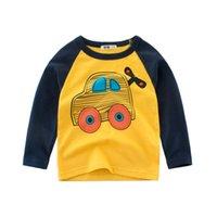 araba uzun kollu toptan satış-Yeni Bahar Giyim Uzun Kollu Çocuk Boys t shirt Sevimli Karikatür Araba Pamuk Rahat Gömlek Erkek Üstleri Tişörtü Çocuk Giysileri 5 Renkler