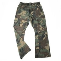 Wholesale legging pockets resale online - Quality Vintage Camouflage Cargo Trousers Loose Fit Twill Cotton Wide leg Jogger Six Pocket Styling Streetwear