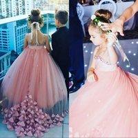 bling çiçek düğmesi toptan satış-Bling Boncuklu Rhinestone Jewel Boyun Kolsuz Küçük Kızlar Pageant Törenlerinde Düğmeler Geri Uzun Tül Çiçek Kız Elbise Düğün İçin