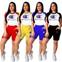 vintage spor giyim toptan satış-Kadın C Harf Eşofman Kolsuz Kıyafetler Baskılı Vintage Yuvarlak Yaka Tee Şort 2 Adet Kıyafet Spor Sokak Seti LJJA2414