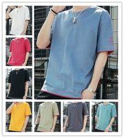 mavi han toptan satış-T Shirt 2019 Erkekler Yaz Moda Yüksek Kaliteli Açık Mavi% 100% pamuk Han baskı Gelgit Tarzı Kısa Kollu Eğlence Boş T-Shirt