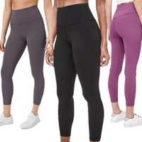 Wholesale fitness yoga pants resale online - LU Solid Women yoga pants High Waist Sports Gym Wear Leggings Elastic Fitness Overall Full Tights Workout LU pants yogaworld pants